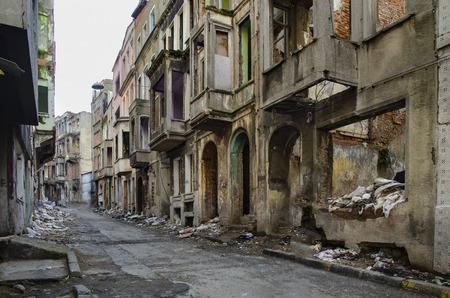 Abandoned old buildings and streets in Istanbul - Turkey. Ruins street background. Tarlabasi neighborhood in Istanbuls Beyoglu district, Urban renewal appears abandoned buildings will be rebuilt. Stok Fotoğraf