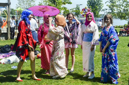 Istanbul, Turkey - May 29, 2016: Asian Cosplay Day Activity in Istanbul.  Dressed as anime characters cosplay participants indicated they did. Costume cosplay participants Istanbul. Redakční