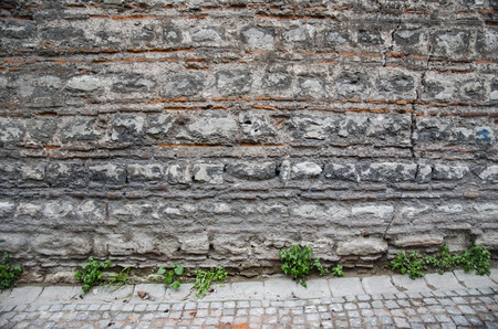 Historic stone walls, Background-Texture, cracked concrete vintage brick wall