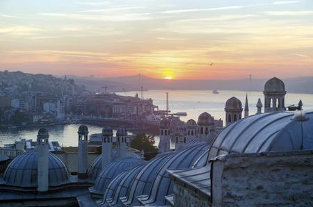 istanbul beach: Sultan Suleiman (Suleymaniye) Madrasah (Rabi). Galata bridge across the Golden Horn and the sunrise view of Istanbul