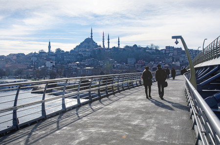 Istanbul, Turkey - December 28, 2014: The Süleymaniye Mosque is an Ottoman imperial mosque located on the Third Hill of Istanbul, Turkey. It is the largest mosque in the city, and one of the best known sights of Istanbul. Editorial