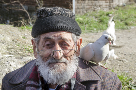 bespectacled man: Istanbul, Turkey - January 25, 2015: White Bearded Grandfather and Pigeons friendly. Istanbul Topkapi bird markets, bird seller grandfather, was seen with pigeon on shoulder.
