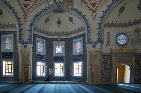 're: Istanbul, Turkey - October 2, 2016: Istanbul, Seyit Nizam Mosque in Zeytinburnu district. Mosque has been restored, re-open the service.
