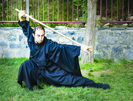 roleplaying: Istanbul, Turkey - Mayer 29, 2016: Kadikoy, on the beach Asia Day 2 was named cosplay day activity. Participants dressed as anime characters cosplay indicated they did. Shaolin Monk costume cosplay Participants in the photo.