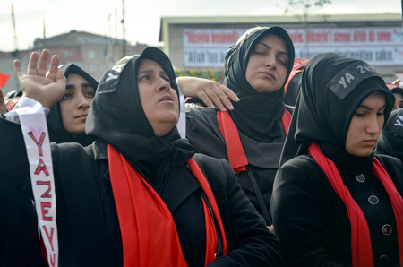 Istanbul, Turkey - November 3, 2014: Universal Ashura Mourning Ceremony. Day of Ashura. A Universal Ashura Mourn Ceremony, was held in Istanbul to commemorate the martyrdom of Husain ibn Ali, the grandson of the Prophet Muhammad and his 71 friends. Editorial
