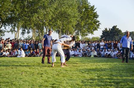 wrestlers: Istanbul, Turkey - July 31, 2016: Central Asian Turkmen wrestling. in Zeytinburnu district of Istanbul, Turkmen wrestling sports events held in the coastal meadows. Turkmen, Uzbek, Afghan, Turkish, Turkmenistan, Kazakhstan, Turkey and other Central Asian  Editorial