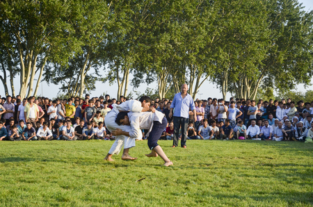 ata: Istanbul, Turkey - July 31, 2016: Central Asian Turkmen wrestling. in Zeytinburnu district of Istanbul, Turkmen wrestling sports events held in the coastal meadows. Turkmen, Uzbek, Afghan, Turkish, Turkmenistan, Kazakhstan, Turkey and other Central Asian  Editorial