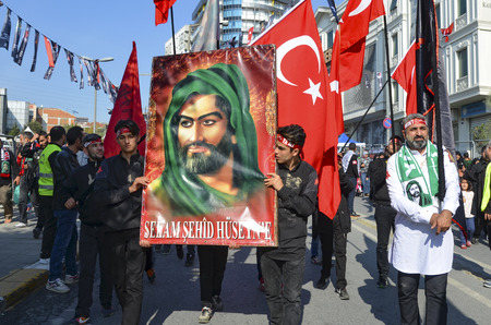 mohammed: Istanbul, Turkey - October 11, 2016: Muslims worldwide marks Ashura Istanbul Shiite community. Turkish Shia Muslims mourning for Imam Hussain. Caferis take part in a mourning procession marking the day of Ashura in Istanbuls Kucukcekmece district, Turkey Editorial
