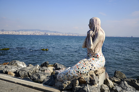 female likeness: Istanbul, Turkey - October 30, 2016: Mermaid statue on the island of Buyukada, One of the Prince Islands. by Painter Sculptors Feryal Taneri Mermaid statue made in 2014.