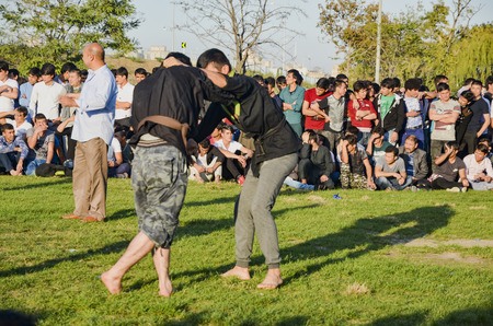 Istanbul, Turkey - October 2, 2016: The Central Asian Turkmen meadow wrestling held in Istanbul. Zeytinburnu district of Istanbul in the meadow, Turkmen, Uzbek, Afghan, Tatar, Kyrgyz and other Central Asian Turkmen done wrestling. Wrestling following turk Editorial