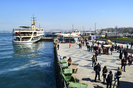 istanbul beach: Istanbul, Turkey - March 29, 2013:  Istanbul Ferries, Eminonu waiting in the harbor. (called vapur in Turkish) continue to serve as a key public transport link for many Thousands of commuters, tourists and vehicles per day.