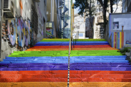 local 27: Istanbul, Turkey - February 02, 2014: Rainbow-colored stairs in Istanbul. Stairs in the Cihangir and Findikli neighborhoods, which attracts attention after being painted in rainbow colors by a local man on August 27, 2013. Editorial