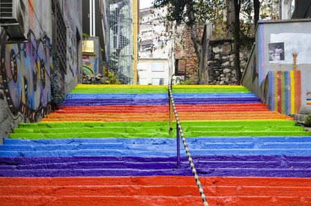 Istanbul, Turkey - December 29, 2013: Rainbow-colored stairs in Istanbul. Stairs in the Cihangir and Findikli neighborhoods, which attracts attention after being painted in rainbow colors by a local man on August 27, 2013. Editorial