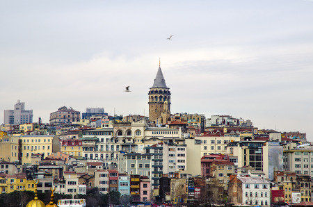 Galata Tower from icons of Istanbul. A fortress located in the Galata district of Istanbul. The structure was built in 528 years, it is among the most important symbols of the city. Editöryel
