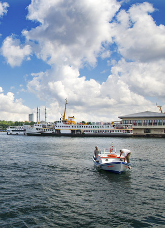 Istanbul, Turkey - June 9, 2013: Istanbul Ferries (called vapur in Turkish) will continue to serve as a key transport link for many Thousands of commuters, tourists and vehicles per day. In the photo, ferryboats are seen on Kadikoy scaffolding.