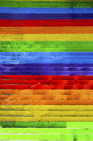 Concrete stairs painted in rainbow colors. Background Stok Fotoğraf