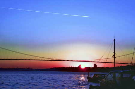 Istanbul Bosporus sunset. Turkey Bosphorus 15th July Martyrs Bridge