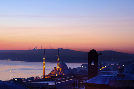 Dawn in Istanbul, Bosphorus Istanbul Landscape. Suleymaniye Mosque from the garden view. Stock Photo