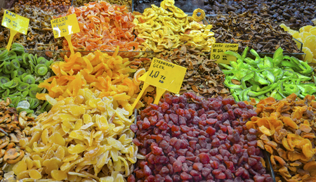 Spice Bazaar, Dried fruits for sale; Melon, Kiwi, Strawberry, Green Lemon