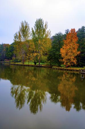 Herbstbäume um See. Herbstbäume reflektiert im See. Herbstliche Szene mit gelben, orange und roten Blättern auf Bäumen. Standard-Bild - 70164598