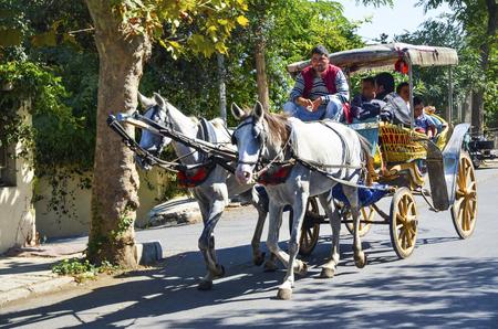 motor de carro: Estambul, Turquía - 29 septiembre, 2013: Phaeton del caballo del coche. Cochero de caballos del paseo del carro. Buyukada, las Islas Príncipe, también conocida como Estambul es la mayor de las islas de la costa. vehículo de motor Buyukada no se está utilizando, tales como taxi carro Phaeton
