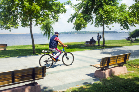 golu: Istanbul, Turkey - June 4, 2016: Excursion by bicycle around the lake. Lake Kucukcekmece (Turkish: Kucukcekmece Golu) is a lagoon located between the Kucukcekmece Esenyurt and Avcilar districts of the European portion of Istanbul Province, northwestern Tu Editorial