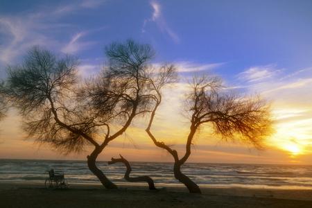 Sonnenuntergang am behinderten Rollstuhl des Strandes. Bunter Sonnenuntergang über dem Meer. Hintergrund Standard-Bild - 71015254
