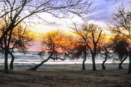 Bunter Sonnenuntergang über den See- und Sonnenorangenfarben. Standard-Bild - 71015258