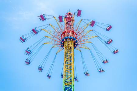 ou: View of a swing ride in an amusement park Editorial