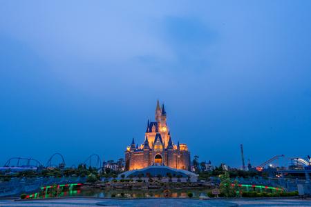 Landscape view of a castle in an amusement park