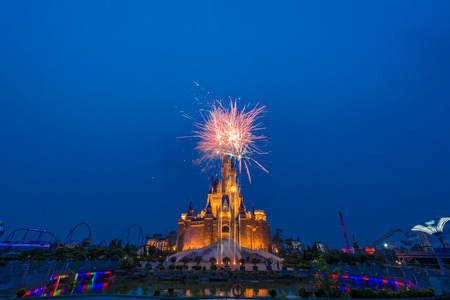 Fireworks in an amusement park