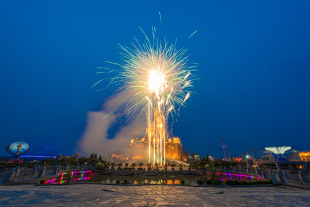 Fireworks show in an amusement park