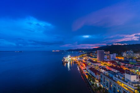 Malaysian seaside scenery at night Stock Photo