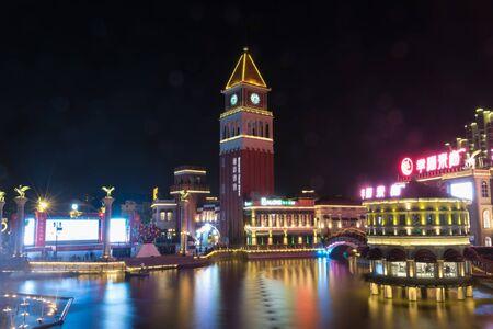 Night view of European-style commercial street in Yancheng, Jiangsu