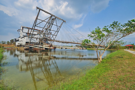 dredger: Abandoned Dredger At Perak, Malaysia. Front View.