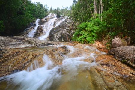 Beautiful waterfall view at rain forest of Malaysia. Stock Photo
