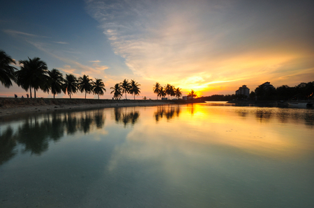 Beautiful sunset over the tropical tree and lake. Stock fotó