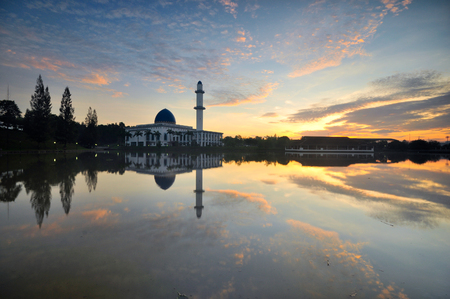 Beautiful majestic floating mosque with morning sky background. Stock fotó