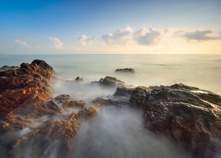 Long exposure shot of seascape at morning