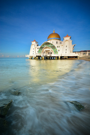 Majestic mosque view on blue sky background. Stock fotó