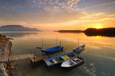Beautiful sunrise view over the fishermen village.