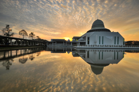 Dramatic morning sky over the majestic mosque.