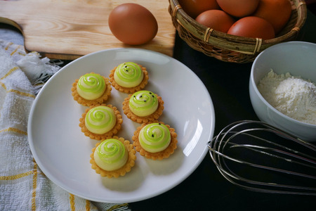 Delicious cheese tart on white plate. Stock fotó