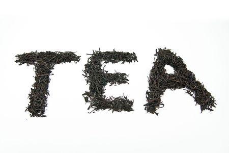 hojas secas: Word t� hecho de hojas secas aislados sobre fondo blanco  Foto de archivo