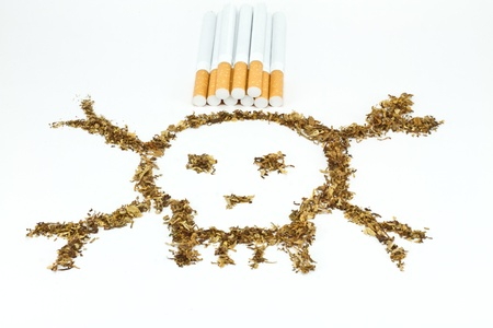 Skull made of tobacco and cigaratte Stock Photo - 8345234