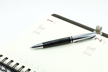 emploi du temps: Organiseur personnel avec stylet Banque d'images