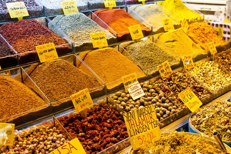 Spices at market place photo