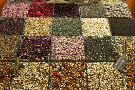 Spices and tea in the Istanbul Grand Bazaar. photo