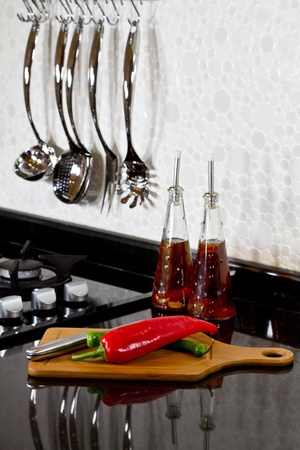 background of modern kitchen and cutting board photo