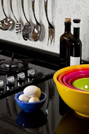 background of modern kitchen and eggs Stock Photo - 8720101